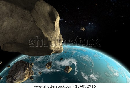 Earth and Asteroid - Elements of this image furnished by NASA - stock photo