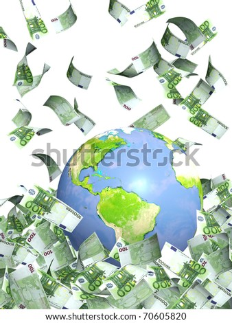 Earth and falling euro banknotes. Isolated over white