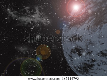 Earth and galaxy - stock photo