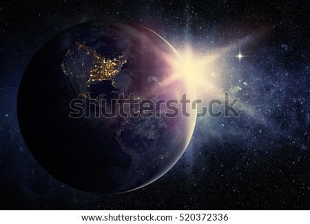 Earth and galaxy. Elements of this image furnished by NASA.