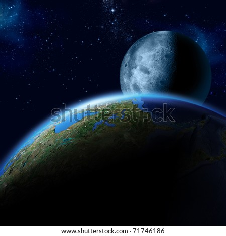 Earth and Moon - stock photo