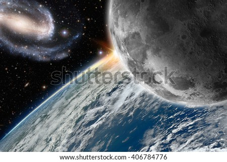 Earth and moon, 3D illustration