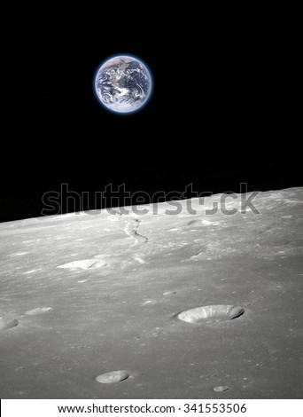 Earth and moon -  Elements of this image furnished by NASA - stock photo