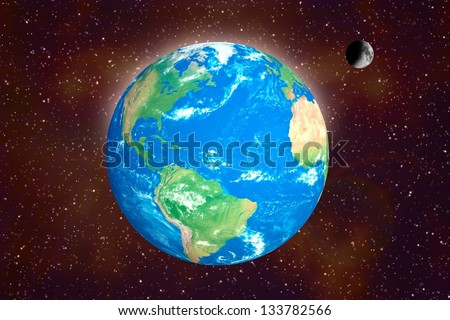 Earth and moon in space. Elements of this image furnished by NASA. - stock photo