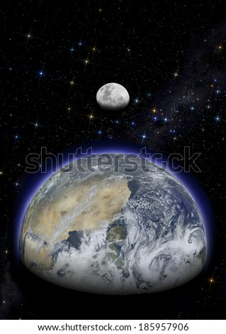 Earth and moon in starry sky illuminated by sun. Image elements furnished by NASA. - stock photo