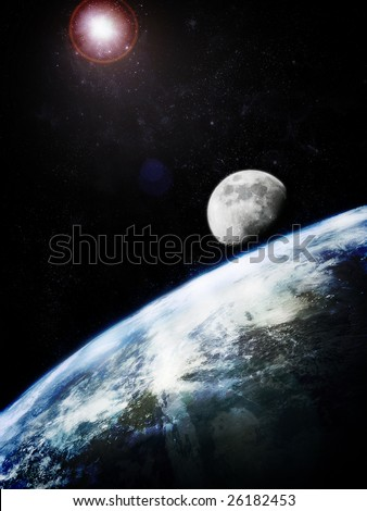 Earth and moon, photorealistic image - stock photo