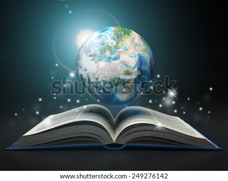 Earth and open book. Education internet e-'learning concept. 3d Elements of this image furnished by NASA - stock photo