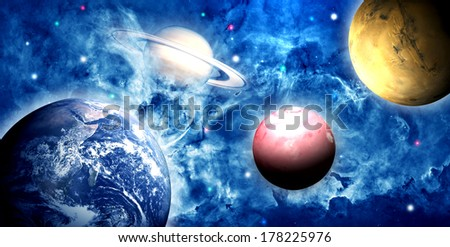 Earth and planets. Elements of this image furnished by NASA. - stock photo