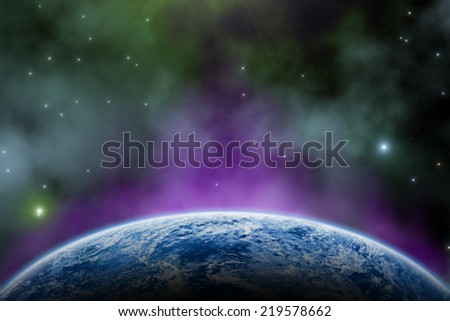 Earth and space sunrise on a starry background. Elements of this image furnished by NASA.