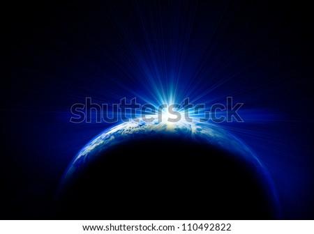 earth and sun - stock photo