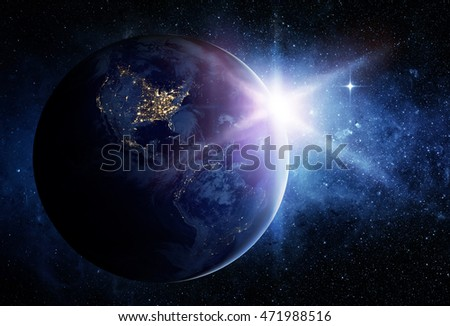 Earth and sun. Elements of this image furnished by NASA.
