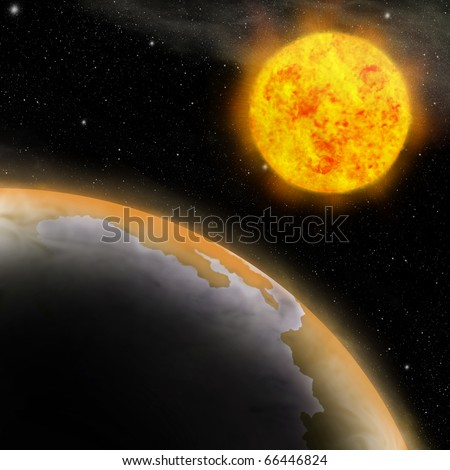 Earth and Sun, Global warming, Greenhouse effect - stock photo