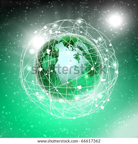 Earth and the communication on its surface. A symbol of high-speed and technology. - stock photo
