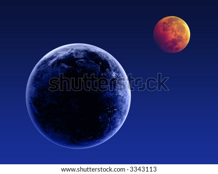Earth and the moon in the blue sky - stock photo