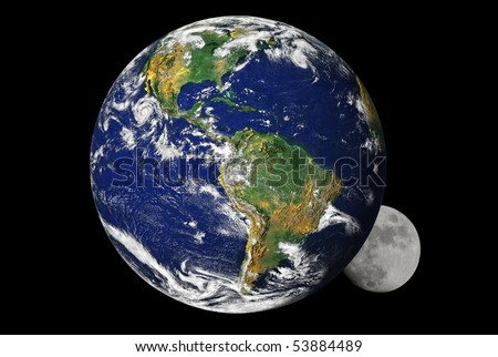 Earth and the moon, with earth partially covering the moon. Earth map by courtesy of NASA - stock photo