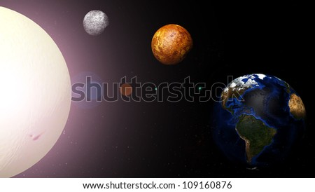 Earth and the planets around the sun at the center. - stock photo