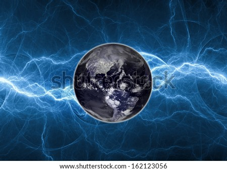 Earth apocalypse concept. Elements of this image furnished by NASA. - stock photo