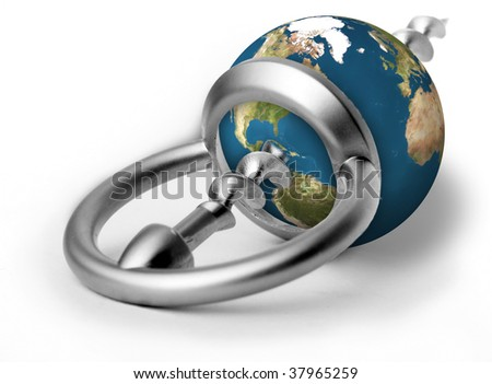 Earth as a stopper penetrated by an opener - stock photo