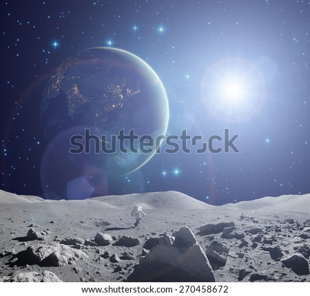 Earth as seen from a Moon\s surface. Elements of this image furnished by NASA. - stock photo