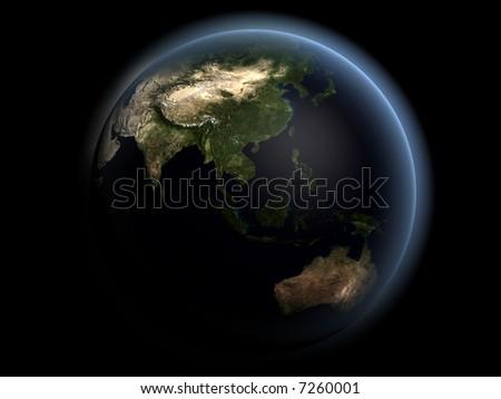 Earth Asia - stock photo