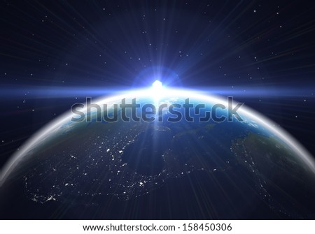 Earth at night with a bright lens flare. computer generated 3D illustration