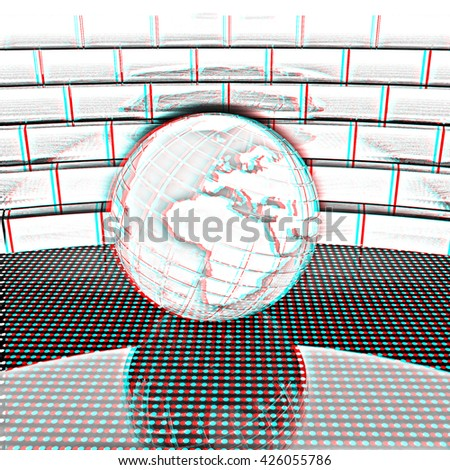 Earth ball on light path to infinity. 3d render . Pencil drawing. 3D illustration. Anaglyph. View with red/cyan glasses to see in 3D. - stock photo