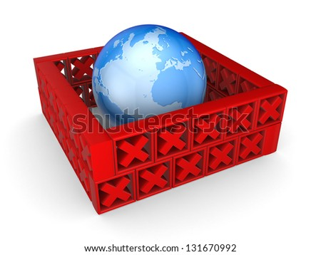 Earth behind a wall of red cross marks.Isolated on white. - stock photo