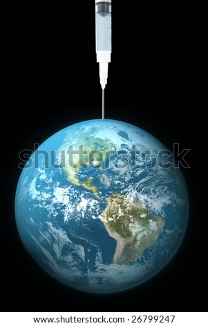 Earth being drained with needle