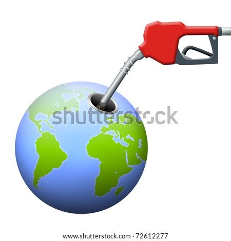 Earth being pumped with gas. - stock photo