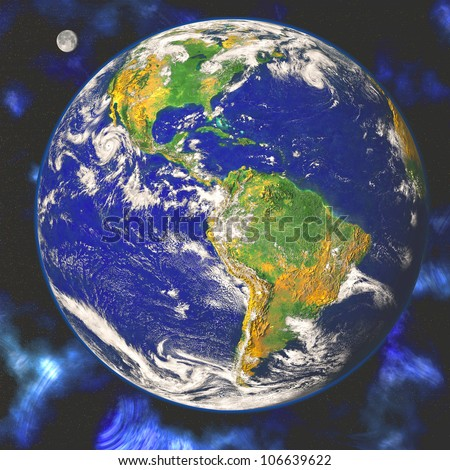 Earth blue planet in space Elements of this image furnished by NASA - stock photo