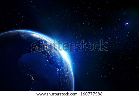 earth blue shining - Elements of this image furnished by NASA - horizon and stars  - stock photo