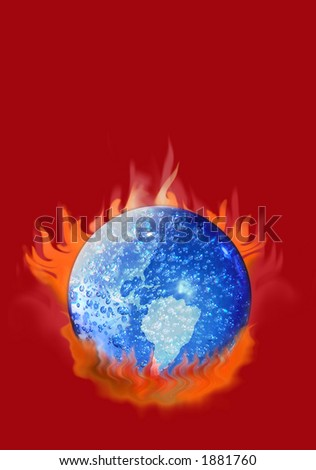 Earth boiling with fire underneath over red background