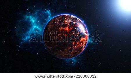 Earth burning after a global disaster, Apocalypse. (Elements of this 3d rendered image furnished by NASA) - stock photo