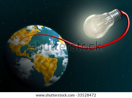 Earth connected by red cable to shining electric lamp