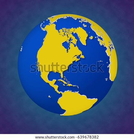 Earth continental view North America.High Resolution detailed 3d rendered Earth.