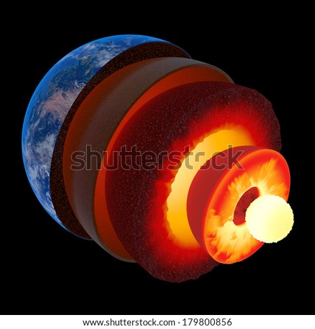 Earth core structure illustrated with geological layers according to scale - isolated on black (Elements of this 3d image furnished by NASA -  source maps from http://visibleearth.nasa.gov/) - stock photo