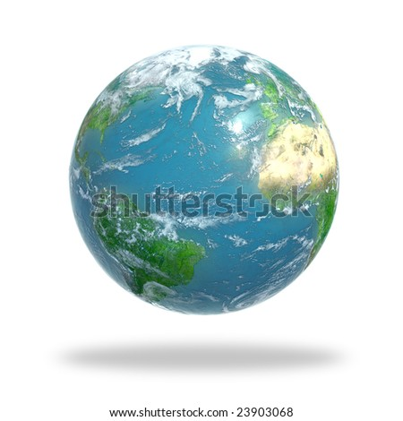 Earth covered with clouds - stock photo