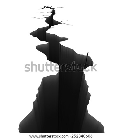 Earth Crack In Perspective - stock photo