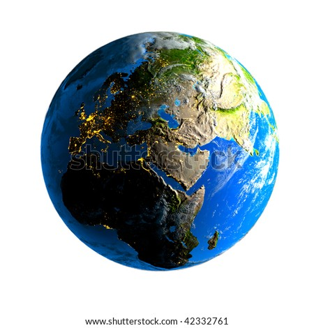 Earth. Day and night. - stock photo