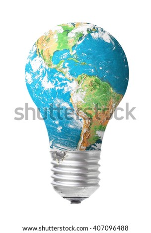 Earth day concept blue world map stock photo download now earth day concept blue world map of light bulb isolated on white background elements gumiabroncs Gallery
