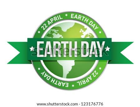 earth day written inside the stamp illustration design - stock photo