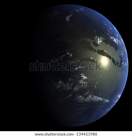 Earth During the K-T Extinction Event:  66 million years ago - stock photo