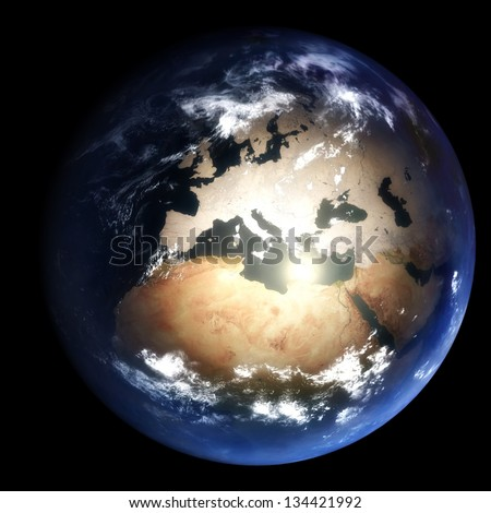 Earth During The Last Ice Age:  2.6 million years ago - stock photo