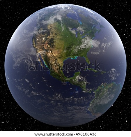 Earth focused on Central America viewed from space. Countries include United States, Belize, Costa Rica, El Salvador, Guatemala, Honduras, Nicaragua, and Panama.