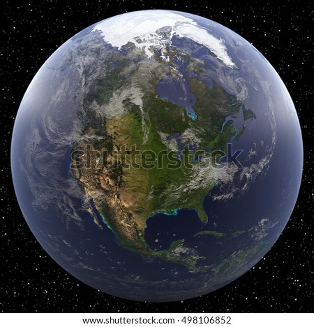 Earth focused on North America viewed from space. Countries include United States, Canada, and Mexico.