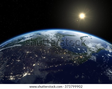 Earth from satellite. Beautiful sunrise over North America. Earth at night and in daytime. 3D realistic illustration. - stock photo