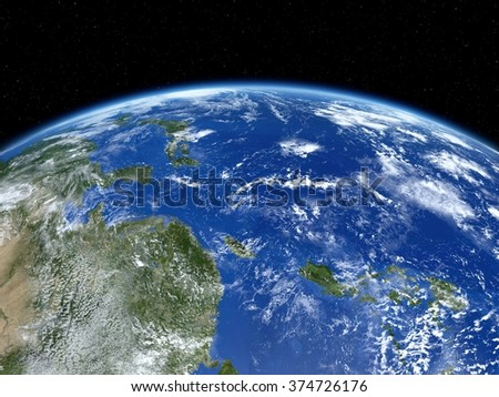 Earth from satellite. View of east Asia and Pacific Ocean from space. 3D realistic illustration.(Elements of this image furnished by NASA.) - stock photo