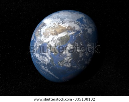Earth from space Asia. Planet Earth in space with stars on the background.