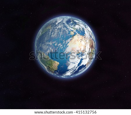 Earth from space. 3D rendering. Elements of this image furnished by NASA. - stock photo