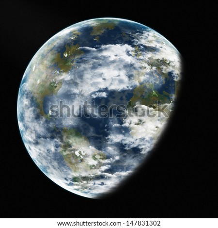 Earth from space. Detailed image. Elements of this image furnished by NASA.
